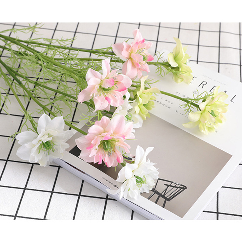 3 Heads 70cm Simulation Cosmos Stem Artificial Flowers Party Home Wedding Decorations Silk Flowers Fake Flowers Desk Craft thumbnail
