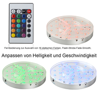 30Pc/lot Remote controlled 8inch RGB color changing LED under Table Light base with rechargeable for wedding party decoration