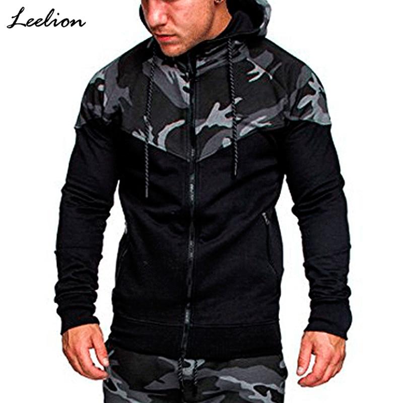 IceLion 2019 Spring Camouflage Patchwork Hoodies Men Zipper Cardigan Sweatshirts Slim Fit Sportswear Men's Fashion Tracksuit