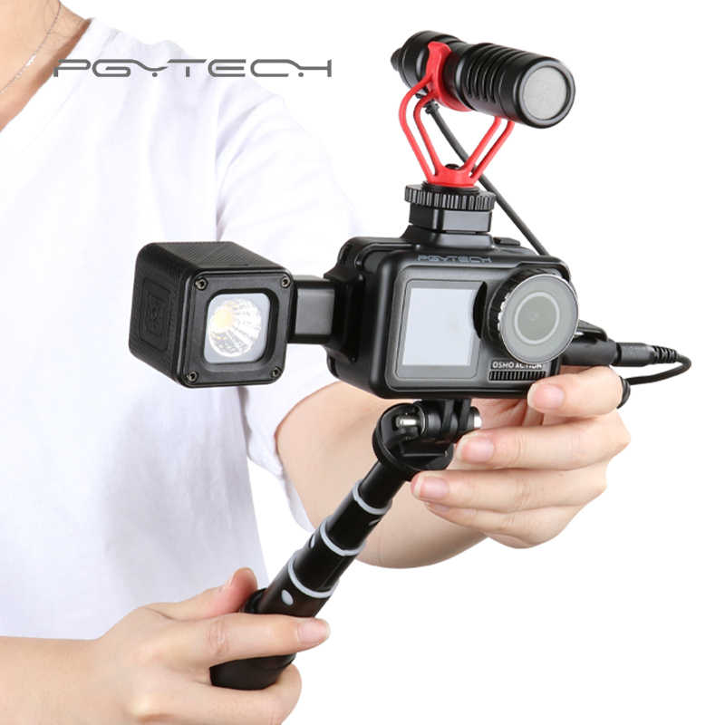 Pgytech Osmo Action Dji Osmo Action Sport Camera Case Cover Case Shell Statief Mini Selfie Stok Microfoon Led Licht Accessorie