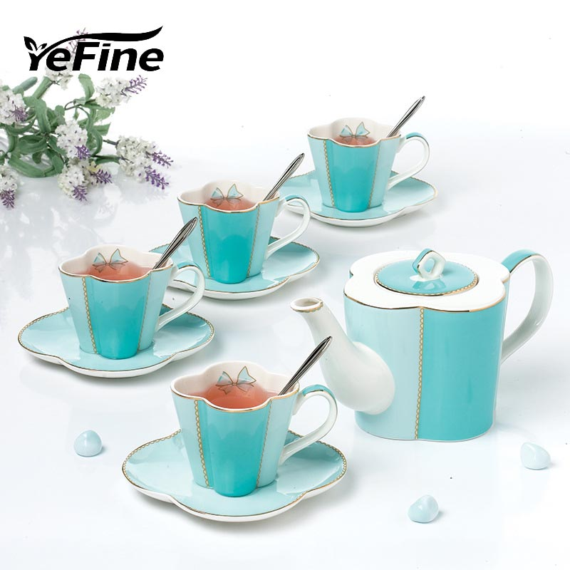 YeFine British Style Afternoon Tea Set Bone China Teapot With Tea Infuser Ceramic Cups And Saucers