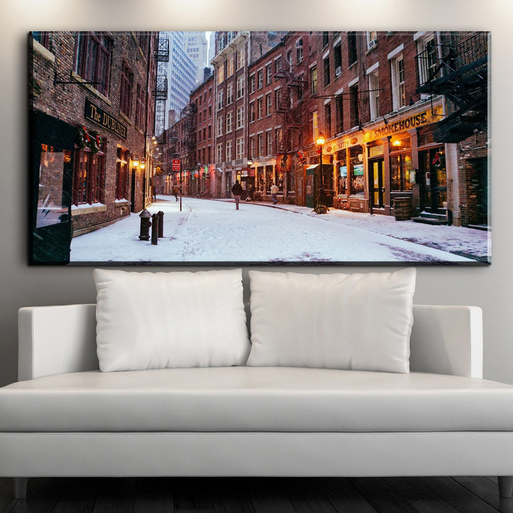 XX1037 modern decorative canvas art snow city landscape scenery canvas pictures oil art paintings for living room bedroom decor