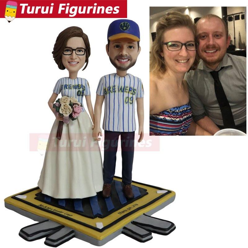 На заказ любовник пара bobblehead фигурки спортивные бейсбольная команда фигура с спортивные майки индивидуальный костюм глиняные куклы