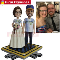 custom lover couple bobblehead figurines sports baseball team figure with sports jerseys customized costume clay dolls
