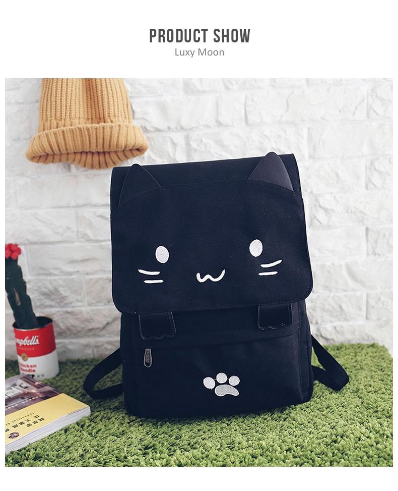 HTB110h9a8iE3KVjSZFMq6zQhVXaS Cute Cat Canvas Backpack Cartoon Embroidery Backpacks For Teenage Girls School Bag Fashio Black Printing Rucksack mochilas XA69H
