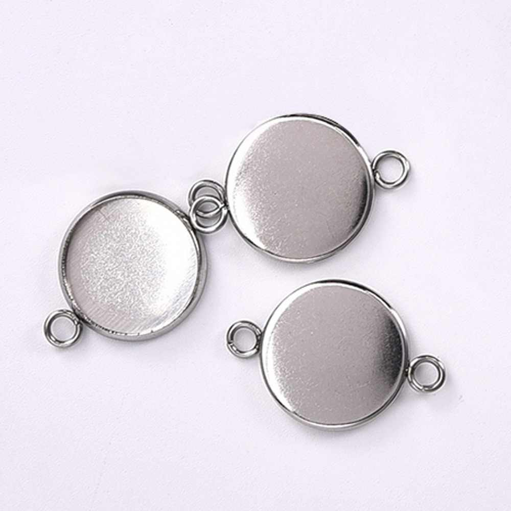 50pcs Fit 16mm Round Cabochon Pendant Base Tray Setting DIY Jewelry Findings