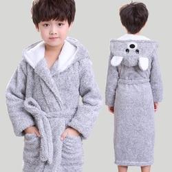 New Winter Big Boys Bath Robe Children Hooded Flannel Pajamas Thicken Lengthen Bathrobes for Teenage Boy Casual Cartoon Pajamas