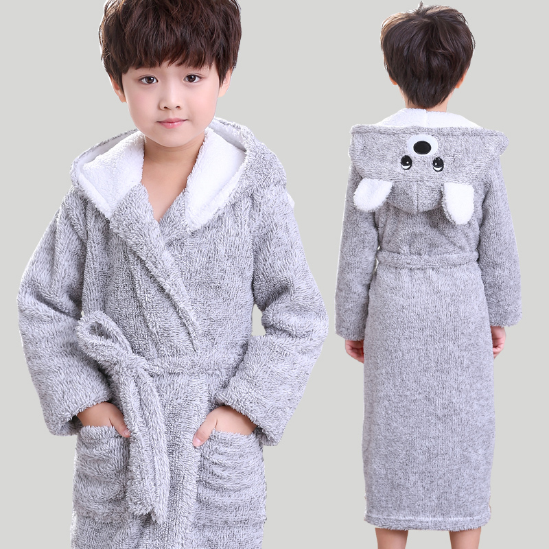 New Winter Big <font><b>Boys</b></font> Bath Robe Children Hooded Flannel Pajamas Thicken Lengthen Bathrobes for Teenage <font><b>Boy</b></font> Casual Cartoon Pajamas image