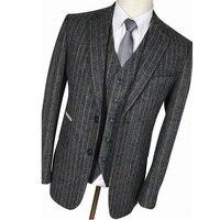 Vintage Mens Suit Grey Classic Wool Tweed Brown Stripe Tailored Custom Handmade Tuxedo Wedding Groom Slim