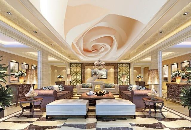 Carta Da Parati Rosa Bianca : Rosa bianca a soffitto in stile moderno murales carta da parati 3d
