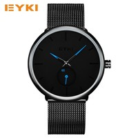 EYKI Simple Wrist Watch Men Independent Seconds Dial Two Color Pointer Milan Nice Stainless Steel Watch
