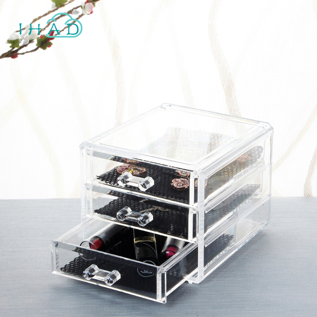 Acrylic 3 drawers jewelry box Transparent Jewelry Organizer For