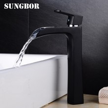 Bathroom High Waterfall Basin Faucet Deck Mount Black Brass Sink Mixer Tap Hot Cold Waterfall Basin Faucet Crane Mixers AL-7266H(China)