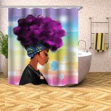 цена на Bathroom Decor African Woman Shower Curtain Waterproof Polyester Fabric Bathroom Curtain Opaque Mouldproof Bath Curtain and Hook