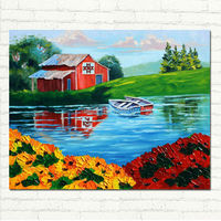 Hand Painted Abstract Impasto Landscape Oil Painting Country Barn Lake Boats Big Impasto Flowers Canvas Art