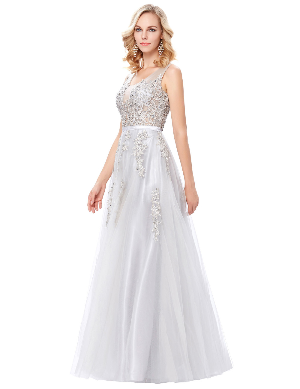 Grace Karin Tulle Appliques Celebrity Prom Dress Sexy V Back Sleeveless Long Royal Blue Robes De Soiree 2017 Longue Prom Dresses 19