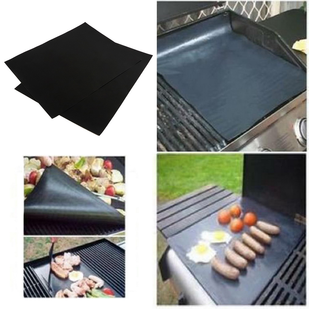 New 2Pcs BBQ Grill Mats barbecue pad Reusable NON-Stick Surface Hot Plate Mat Baking Easy Clean GrillingNew 2Pcs BBQ Grill Mats barbecue pad Reusable NON-Stick Surface Hot Plate Mat Baking Easy Clean Grilling