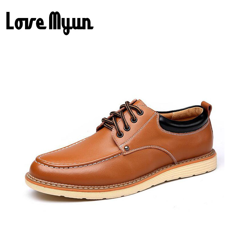 2017 brand new spring fashion Casual shoes men Genuine leather Flat shoes lace up leather shoes Non-slip wear-resisting WA-06 new 2015 spring brand camel fashion leisure men low flat wear resisting high quality leather high end shoes with box