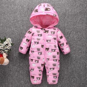 Image 3 - Toddler Baby Down Cotton Cartoon Rompers Newborn Baby clothes snow suit  Winter Thick Warm Children Clothing