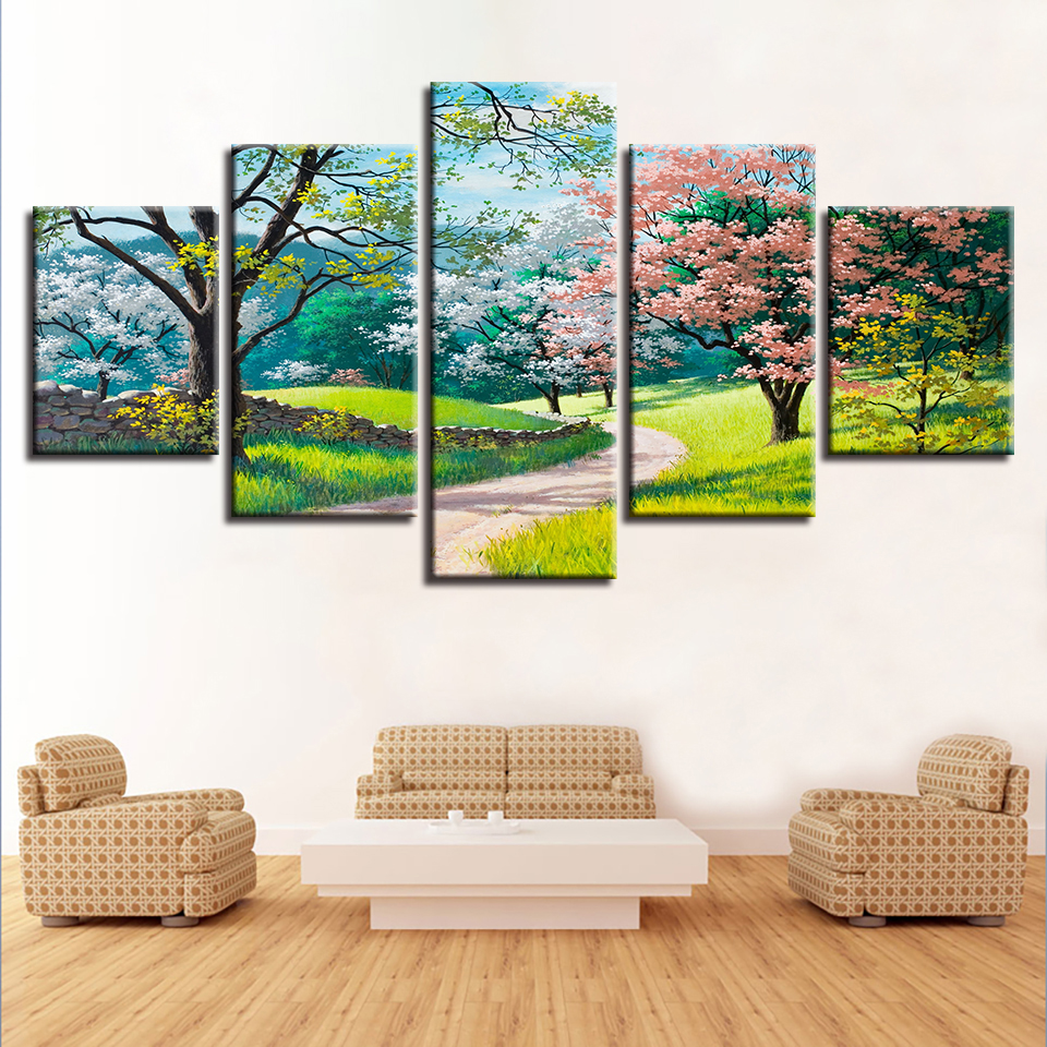 HD Prints Decor Wall Modular Canvas Painting 5 Pieces Green Trees Flowers Grass Path Spring Natural Scenery Picture Poster Art in Painting Calligraphy from Home Garden