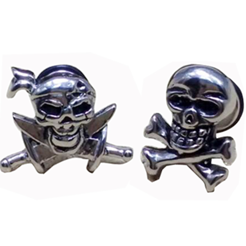 2 Pieces Punk Rock Pirate Skull Stainless Steel Stud Earring Men Wing Earrings Knife Skulls Ear Studs Body Piercing Jewelry In From