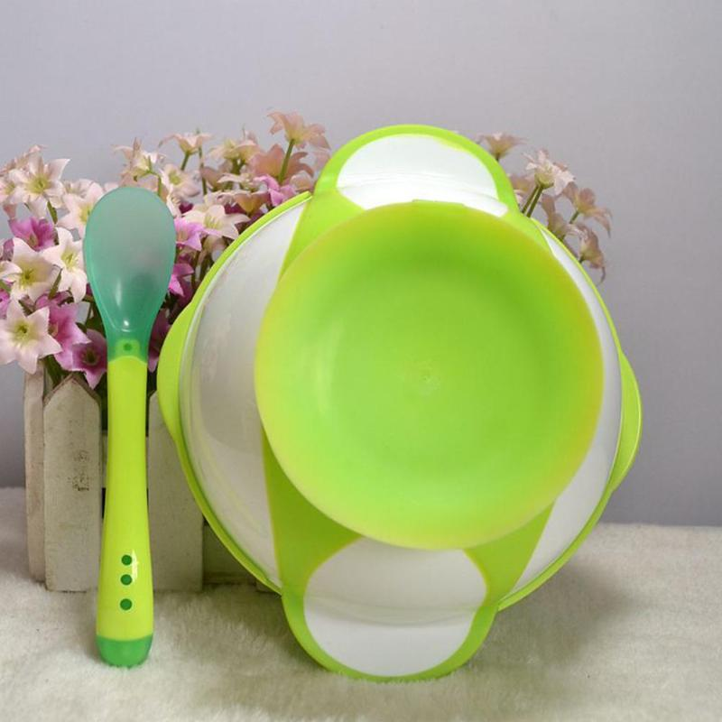 Kids Lid Bowl& 2 Pcs Spoon Cartoon Color Sucker Bowl Fork Set Toddler Baby Training Eating Safe PP Spoon Bowl Prop