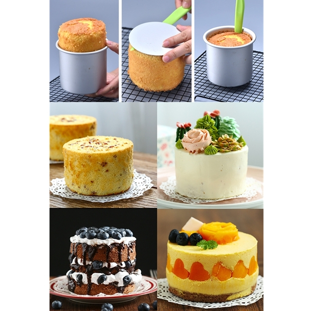 1 Piece Round Cake Pan with Removable Bottom, Anodized Aluminum 10cm Deep Round Cheesecake Pan Chiffon Cake Mold Baking Mould 5