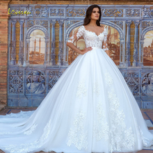 Loverxu сексуальное Иллюзия Половина рукава бальное платье Свадебные платья Роскошные Аппликации Цветы суд Поезд винтажное свадебное платье