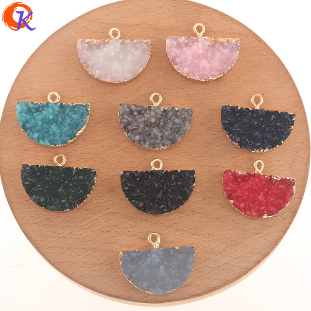 Cordial Design 50Pcs 18*23MM Jewelry Accessories/Resin Charms/Semicircle Shape/DIY Earrings Making/Hand Made/Earring Findings