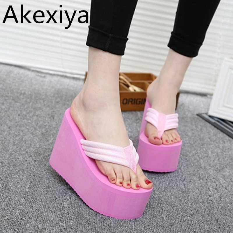Akexiya Hot 2017 New Women Summer Shoes High Heels Beach Sandals Soild Wedge Platform Flip Flops Woman Shoes купить