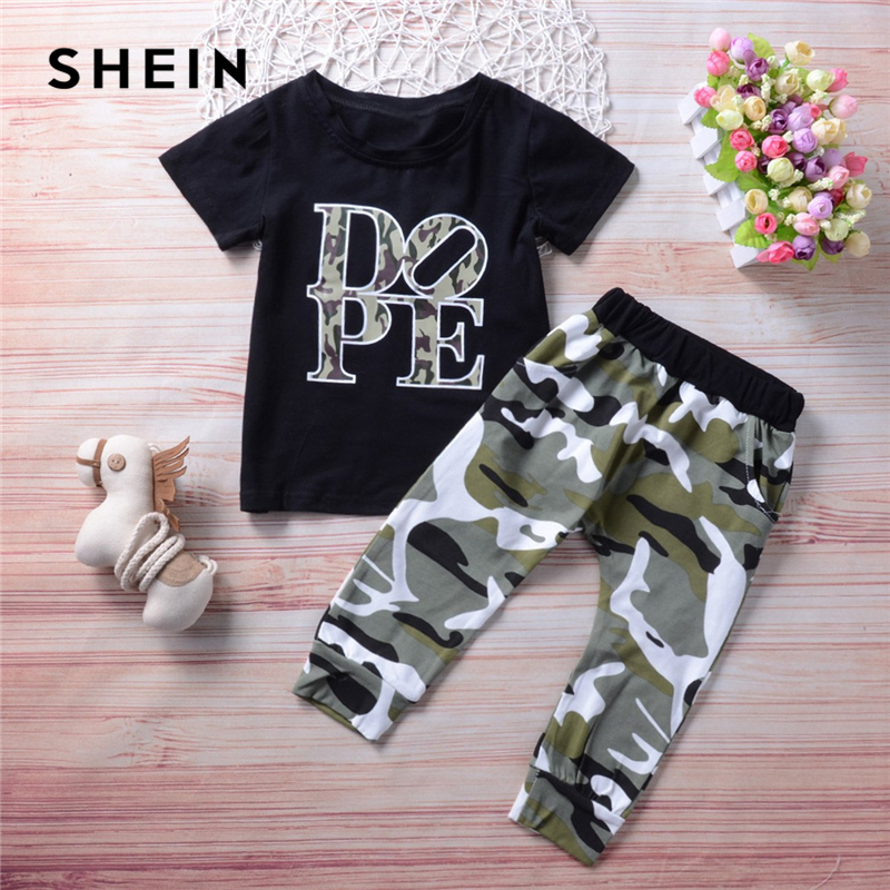 SHEIN Toddler Boys Letter Print Tee With Camo Pants Two Piece Set 2019 Spring Fashion Short Sleeve Casual Children Boys Clothes girls slogan print tee with striped pants