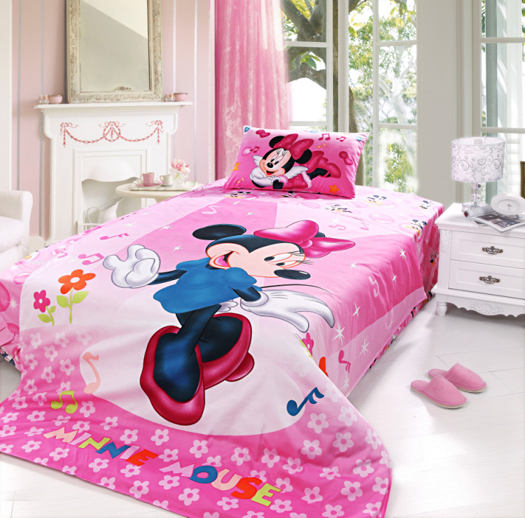 Minnie Mouse Bedding Set For Kids Bedroom Decor Cotton
