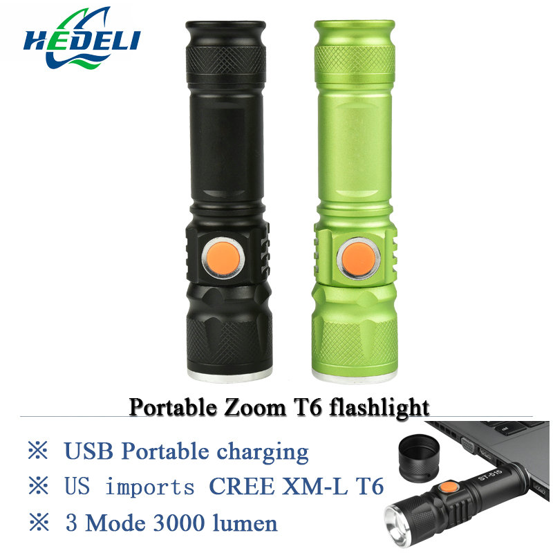 2017 new powerful led flashlight Mini USB CREE XML T6 torch lantern portable light Rechargeable lantern waterproof flash light 1pc mini keychain pocket torch usb rechargeable light flashlight lamp 0 5w 25lm multicolor mini torch new arrival