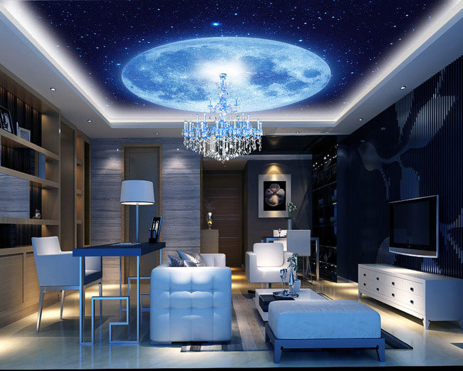 Blue Earth cosmic sky zenith living room ceiling murals 3D wallpaper the living room bedroom study paper 3D wallpaper high definition sky blue sky ceiling murals landscape wallpaper living room bedroom 3d wallpaper for ceiling