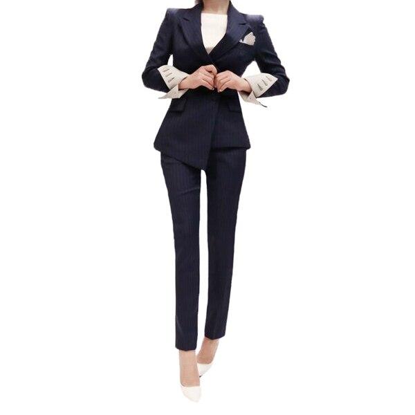 Femmes OL Style Mode Bleu Costumes Ensembles/Business Femme Manteaux Couleur Unie Double Bouton Costumes Vestes Blazers + pantalon crayon - 5