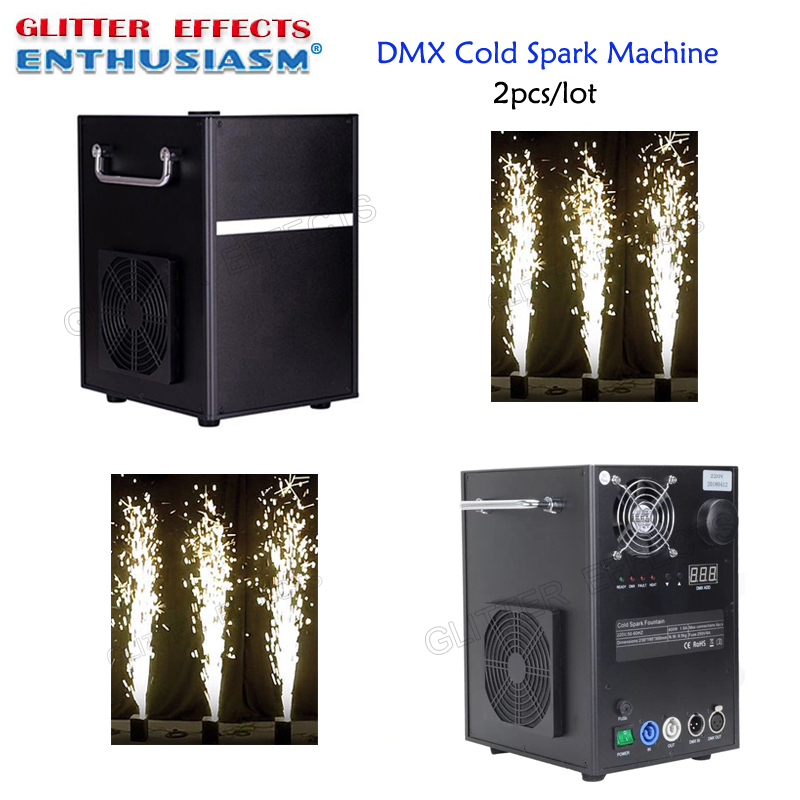 2pcs lot Professional dmx stage cold spark fountain machine titanium powder fire machine for wedding