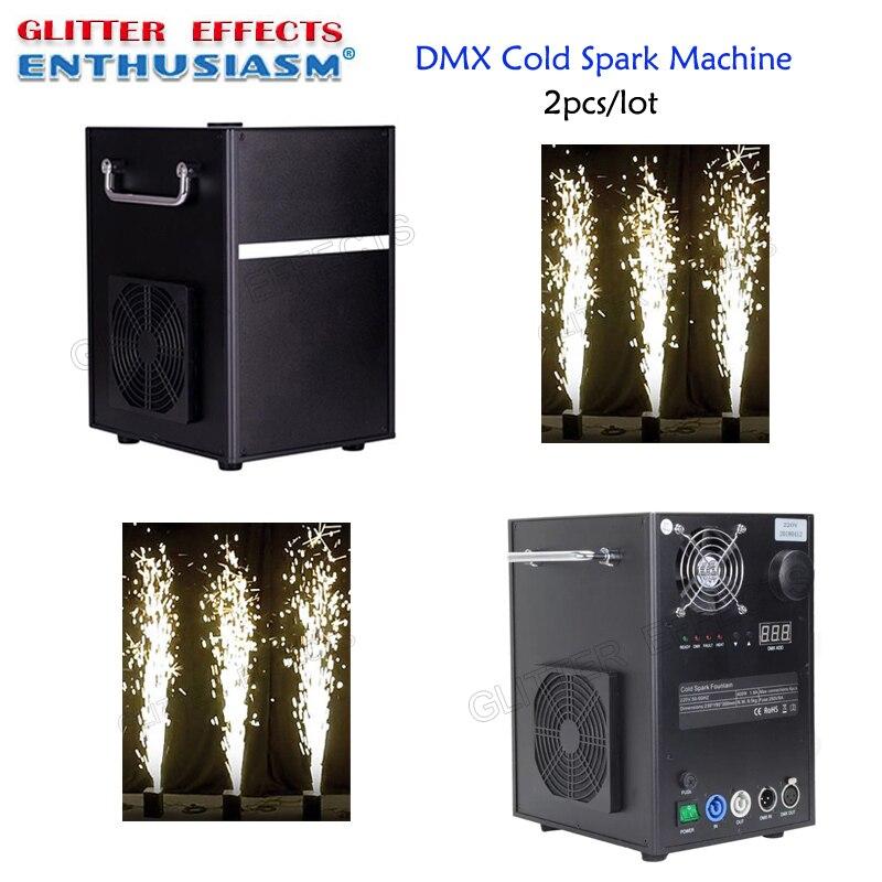 2 pçs/lote Profissional máquina fonte titanium faísca pó máquina de fogo dmx fase fria para o casamento