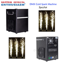 2pcs/lot Professional dmx stage cold spark fountain machine titanium powder fire machine for wedding 2pcs lot 6 angle dmx fire machine 90v 240v dmx512 flame projectors spray fire machine safe to use 200w fire effect stage light