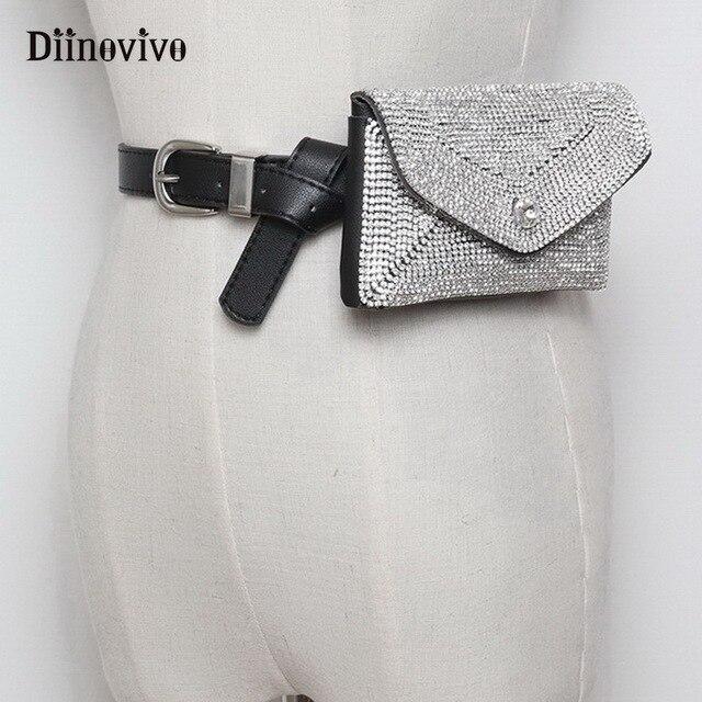 DIINOVIVO Designer De Luxo Strass Borla Mulheres Saco Da Cintura Bloco de Fanny Correia Da Forma Da Senhora Bolsas Saco Dinheiro Malote Do Telefone WHDV0698