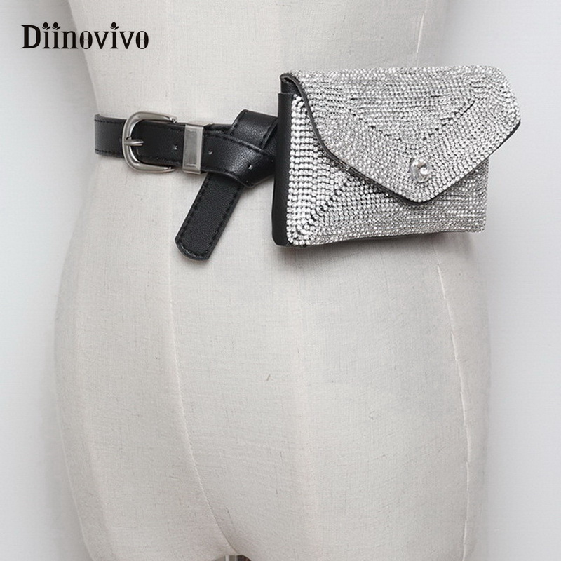 DIINOVIVO Luxury Designer Fanny Pack Tassel Rhinestone Women Waist Bag Money Phone Pouch Fashion Lady Belt Bag Purses WHDV0698