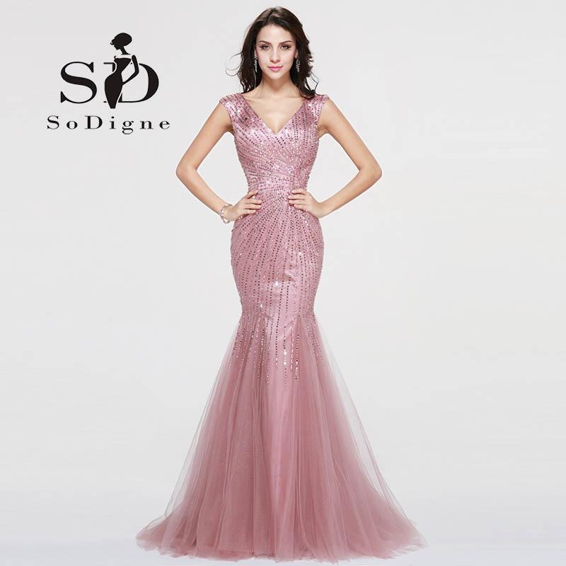 Vestido Largo De Noche Pink Crystals Mermaid Prom Dresses 2018 Formal  Dresses Prom Graduation Dresses V-neck Actual Images bc5b035242a4