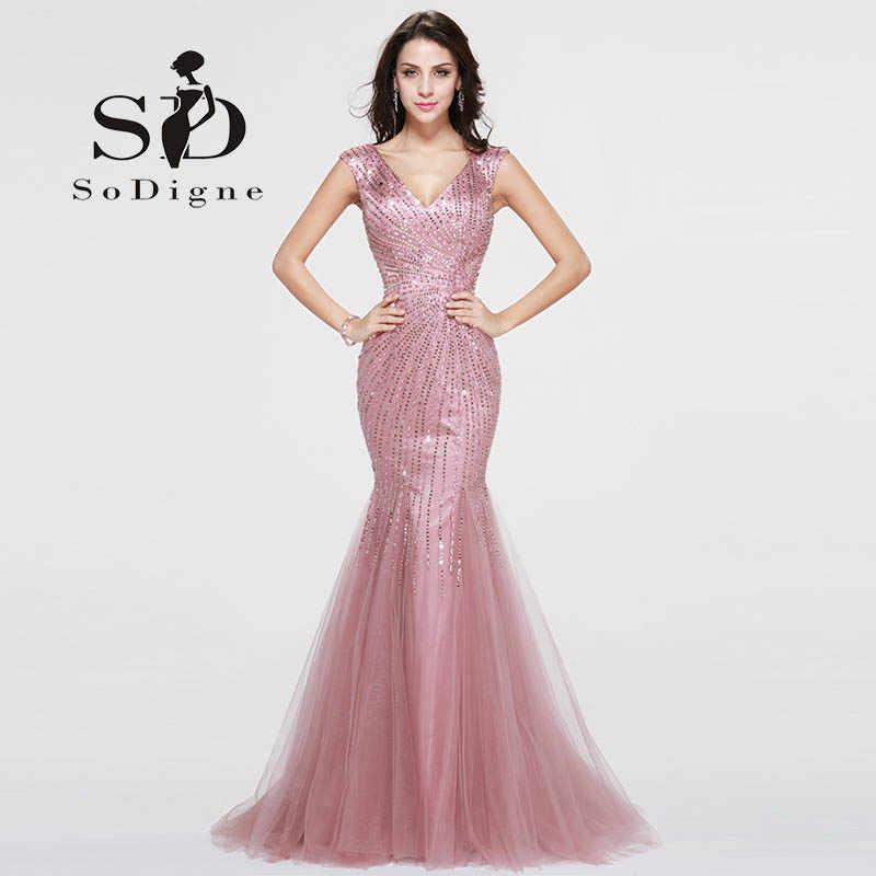 70c46d7004ea Vestido Largo De Noche Pink Crystals Mermaid Prom Dresses 2018 Formal  Dresses Prom Graduation Dresses V