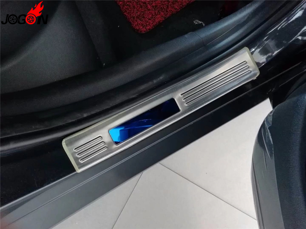 Interior Exterior Front Rear Car Door Sill Guard Bumper Plate Protector Cover Trim For Hyundai Kona Kauai Encino 2018 for hyundai kona encino kauai suv 2018 2019 abs chrome car front fog light protector fog lamp frame cover trim auto accessories