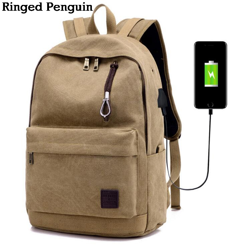Ringed Penguin Men Laptop Backpack For  inch USB Anti-theft Computer Backpacks Male Khaki Bags Daypack Women Travel Bag Mochila voyjoy t 530 travel bag backpack men high capacity 15 inch laptop notebook mochila waterproof for school teenagers students