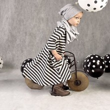 Black Striped Girl Loose Dress