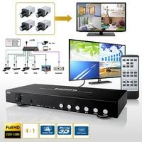 Multi viewer 4X1 4 Port Switch HDMI Immagine Divisione 4 da 1 Quad Multi-Viewer switcher senza soluzione di continuità PIP Converter + IR Remoto RS232