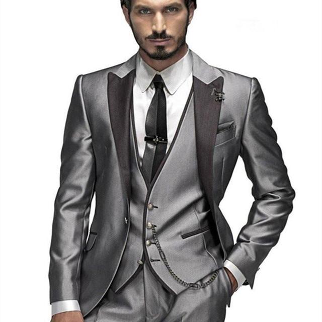 2017 Grau Smoking Krawatte Anzug Tragen Mens Hochzeit Anzuge Fur
