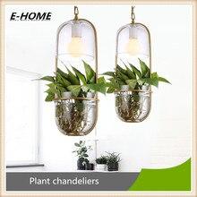 Pastoral Oval Glass Pot Iron Flower Plant Potted led lighting for Terrace Restaurant Bar. Chandelier