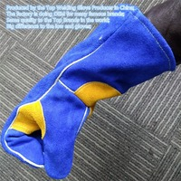 Premium TIG MIG Plasma Oxygen Welding Glove Cowhide Leather 35cm Long Cotton Lining KEVLAR Seamless Finger