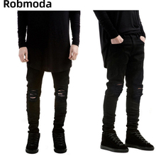 Black Ripped Jeans Men With Holes Super Skinny Famous Designer Brand trousers 2019 Slim Fit Destroyed Torn Jean Pants For Male
